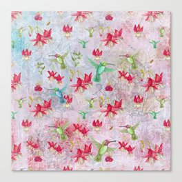 Vintage Watercolor hummingbird and Fuchsia Flowers on pink Background Canvas Print