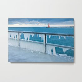 Mole with lighthouse in Warnemuende Metal Print