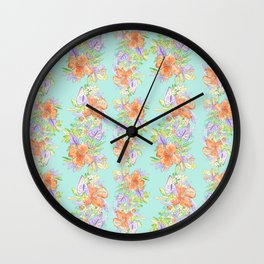 tropical hawaiian flowers aqua Wall Clock