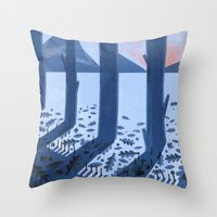 sasquatch Throw Pillows featuring Search for Sasquatch by Robert John Paterson