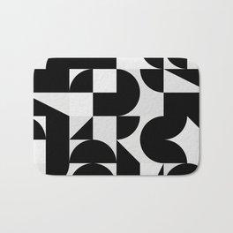 Modern Geometry / Minimal, Black, White, Grey Bath Mat
