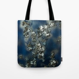 Puzzles on blue Tote Bag