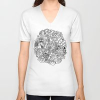 doodle V-neck T-shirts featuring Doodle  by Vibe-Art