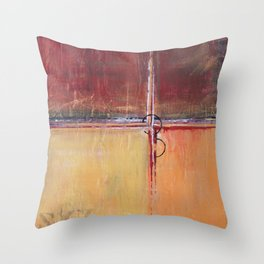Cargo - Textured Abstract Painting - Red, Gold and Copper Art Throw Pillow