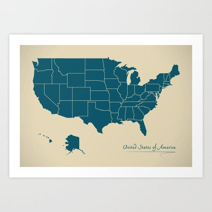 Modern Map - United States of America USA Art Print by ingomenhard