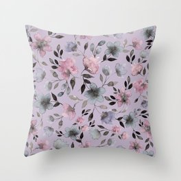 Watercolor floral pattern n.4 on lilac grey Throw Pillow