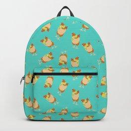 Flower Power Spring Chicken Illustrated Print Backpack