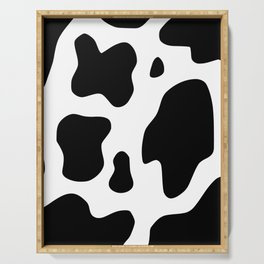 indie cow print in 004-charcoal and true white Serving Tray