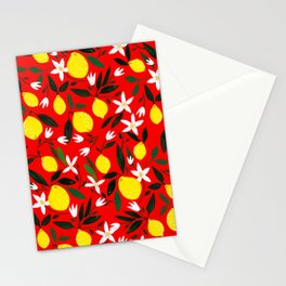 Lemons Red Stationery Cards