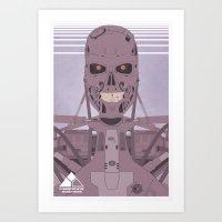 terminator Art Prints featuring Terminator  by Justin Cybulski
