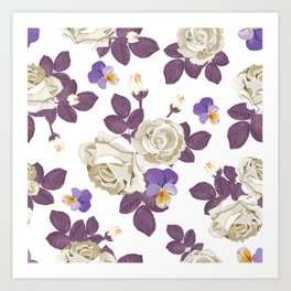 Vintage rustic French country shabby chic blue purple leaf white rose floral print Art Print