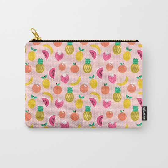Fruit summer spring pattern print tropical island pineapple cherry strawberry banana fresh hot  Carry-All Pouch