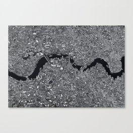 London map black and white Canvas Print