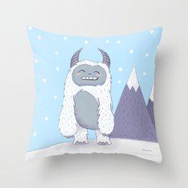 Yeti in the Mountains - Blue Throw Pillow
