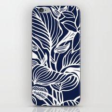 Indigo Navy Blue Floral iPhone Skin