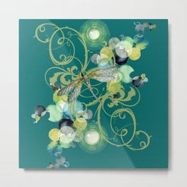 Abstract Cute dragonfly with abstract swirls and chic pearls Metal Print