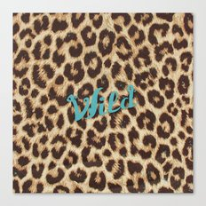 Leopard Print Teal Blue Wild Brown Girly Pattern Canvas Print
