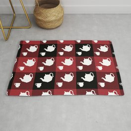 Afternoon Tea Coffee Set White Silhouette on Buffalo Plaid by @risottoart, check out my shop! Rug