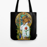 beast Tote Bags featuring Beast by Two Tiger Moon Studio