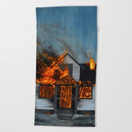 House on Fire Beach Towel