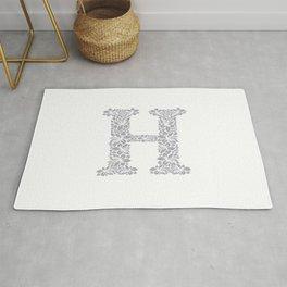Floral Letter H Rug