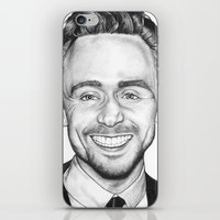 tom hiddleston iPhone & iPod Skins featuring Tom Hiddleston by Angie Siketa