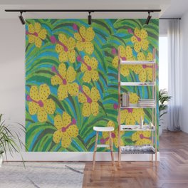 Sunshine Tropical Hibiscus Print Wall Mural