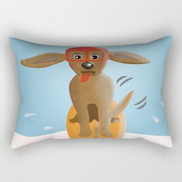 Surf Dog on Top of the Wave Rectangular Pillow