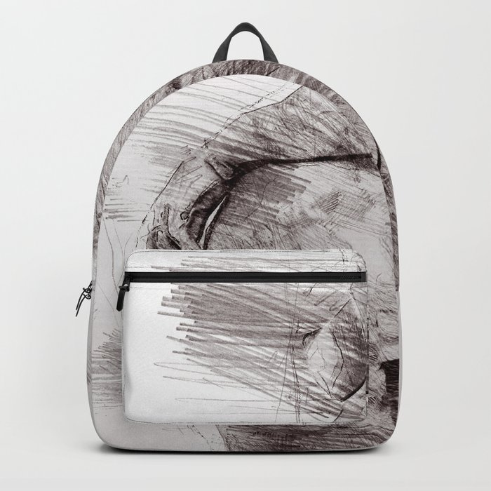 Nude woman pencil drawing Backpack