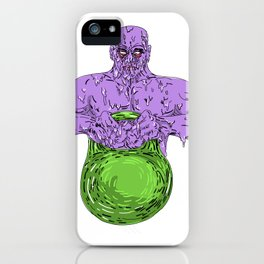 Athlete Lifting Kettle Bell Grime Art iPhone Case