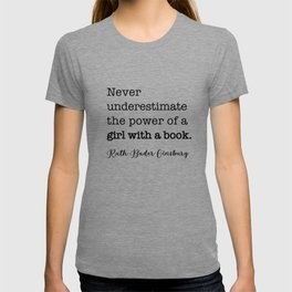 Never underestimate the power of a girl with a book. T-shirt