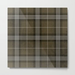 Grungy Brown Plaid Metal Print