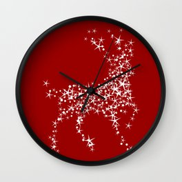 Sparkling Reindeer Pattern On Red Wall Clock