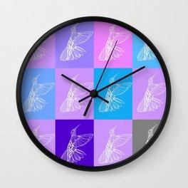 purple hummingbirds Wall Clock