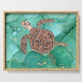 Precious Hawksbill Sea Turtle Swimming in the Emerald Ocean Serving Tray