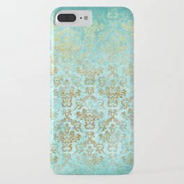 Mermaid Gold Aqua Seafoam Damask iPhone Case