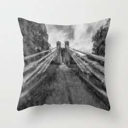 Conwy Suspension Bridge Throw Pillow