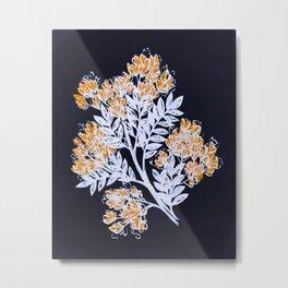 Midnight blue floral with mustard blooms – Dark Metal Print
