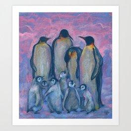 Penguines, Antarctic Winter Art Print