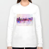 seoul Long Sleeve T-shirts featuring Seoul skyline in watercolor background by Paulrommer