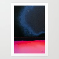 moon phase Art Prints featuring New Moon - Phase III by Marina Kanavaki
