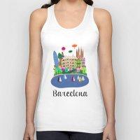 barcelona Tank Tops featuring Barcelona  by uzualsunday