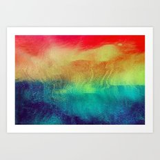Abstract Waves at Sunset Art Print