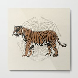 STAND STILL TIGER Minimalist Modern and Vintage Illustration Design of a Burnt Orange Wild Cat Sun Metal Print