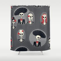 dia de los muertos Shower Curtains featuring Dia de Los Muertos by Julie's Fabrics & Thingummies