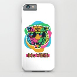 80's Vibes Retro Tiger 80s Vintage Party Cool Spirit iPhone Case