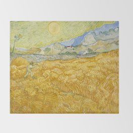 "Vincent van Gogh ""Wheat Field behind Saint Paul Hospital with a Reaper"" Throw Blanket"