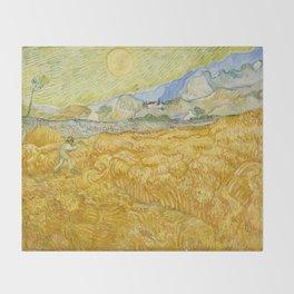 "Vincent van Gogh ""Wheat Field behind Saint Paul Hospital with a Reaper"" Throw Blanket"