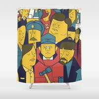 ale giorgini Shower Curtains featuring Fargo by Ale Giorgini