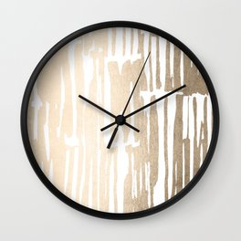 White Gold Sands Bamboo Stripes Wall Clock